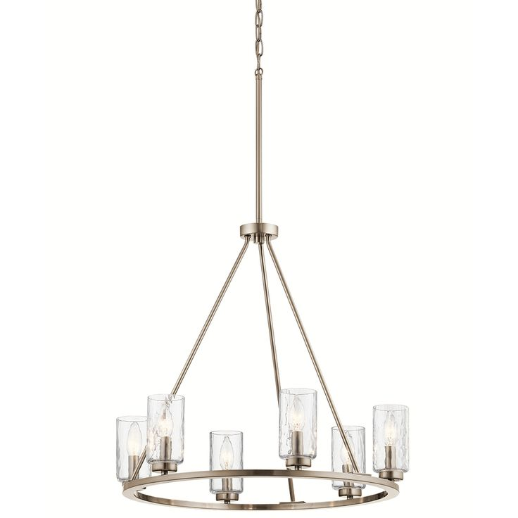 kichler lighting marita 2387w x 225h 6 light brushed nickel vintage clear - Brushed Nickel Dining Room Light