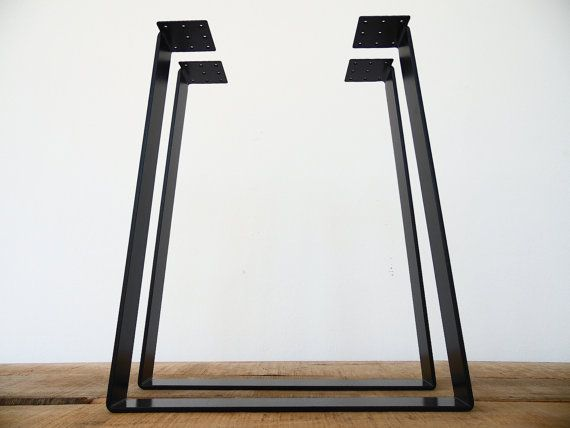 28 Trapezoid Table Legs Flat Steel POWDER COATED SET2 By Balasagun