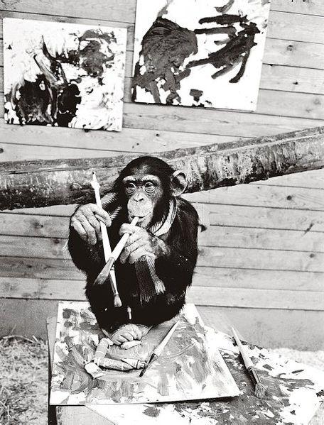 """En 1964, la galería Christinae de Gotemburgo exhibió las pinturas abstractas de un tal Pierre Brassau. Rolf Anderberg, crítico del periódico Göteborgs-Posten escribió:     """"Brassau pinta con poderosas pinceladas, pero también con una clara determinación. Sus pinceladas se retuercen con furioso fastidio. Pierre es un artista que interpreta con la delicadeza de un bailarín de ballet"""".     Era en realidad un chimpancé a quien el periodista Åke """"Dacke"""" Axelsson había dado telas y pinceles"""