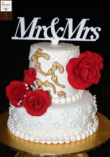 2 tier wedding cake with handmade roses. Eggless vanilla flavour wedding cake by preciousgemscakes.com.au