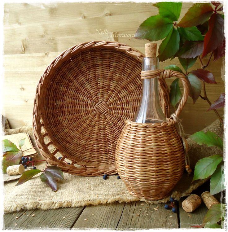 """Купить Набор плетеный """"Солнечная Сицилия"""" - светло-коричневый, плетеный набор, поднос для фруктов"""