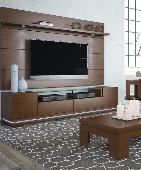 Manhattan Comfort Nut Brown Vanderbilt TV Stand & Cabrini 2.2 LED Wall TV Panel | zulily