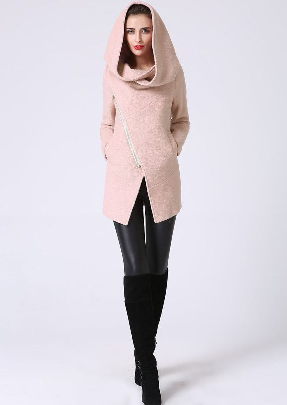 Pink coatHooded Jacket pink blazer pink wool coat by xiaolizi