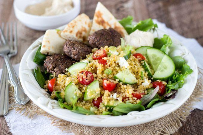 Mediterranean Quinoa Salad with Spiced Mini Burgers ...