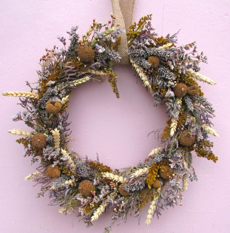 Lilac and gold, Lavender, Sycamore pods, Limonium, Wax flower and Wheat