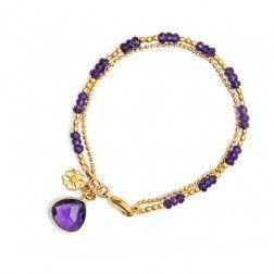 Azuni Athena Gold Plated Double Strand Amethyst Bracelet