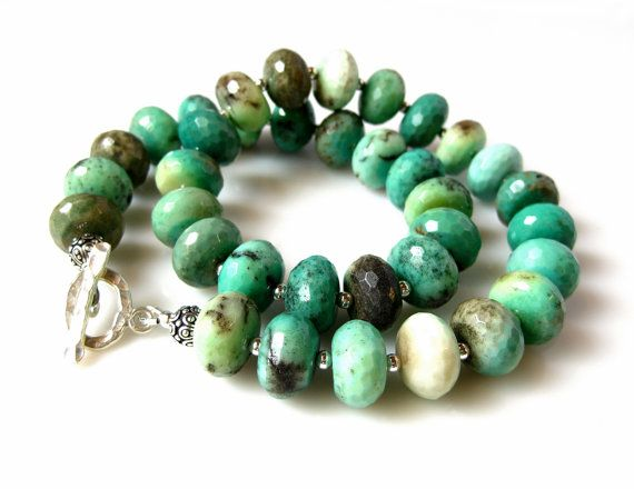 Moss Opal Necklace Emerald Green Statement Single by MsBsDesigns, $275.00