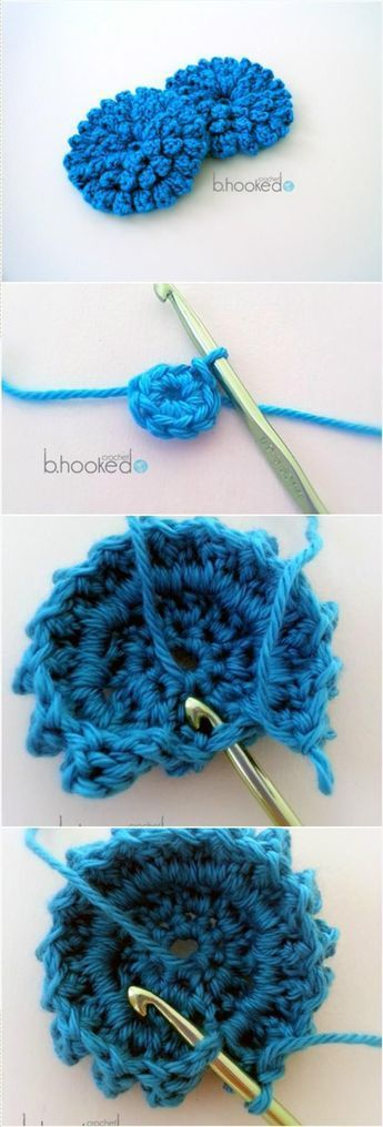 Blue Crochet Popcorn Stitch Flower - 31 Free Crochet Patterns That You will in Love with | 101 Crochet