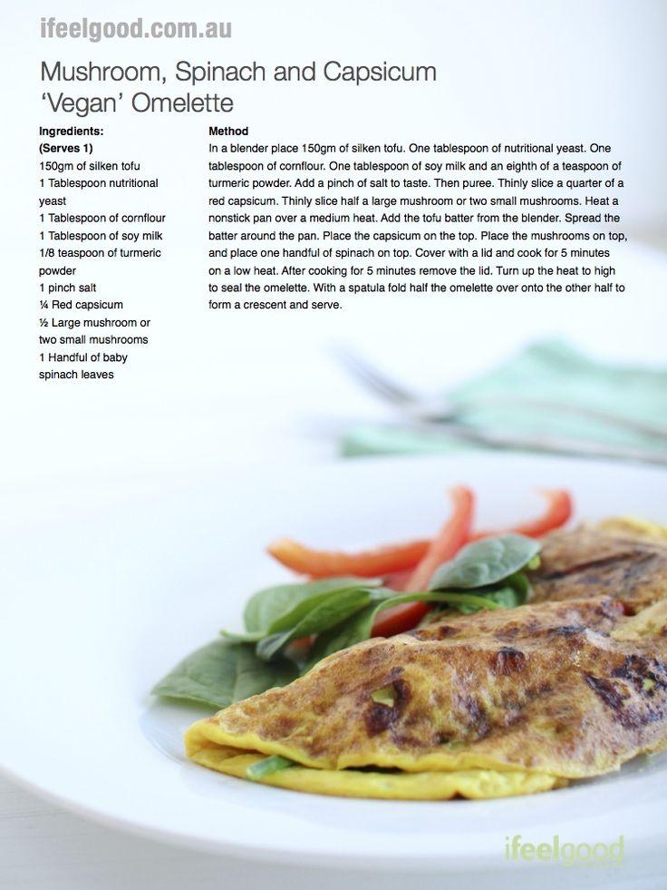 Mushroom and Spinach Vegan Omelette Recipe www.ifeelgood.com.au Adam Guthrie