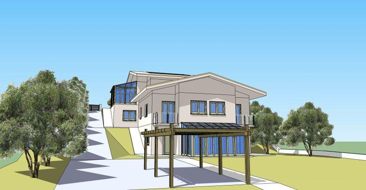 Rendering vista sud-est. Progetto preliminare di un edificio bifamiliare NZEB da realizzare a Solomeo di Corciano (PG) ITALIA. http://www.egbm.it/