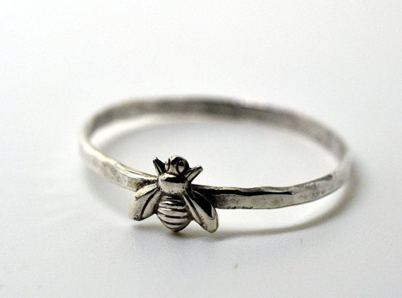 Honey Bee Ring, Handforged Silver Ring, Insect Ring, Animal Jewelry