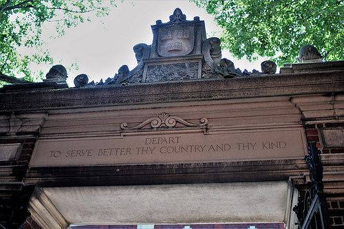 "On gate to #harvardyard ""Depart to serve better thy country and thy kind"" #CambridgeMA"