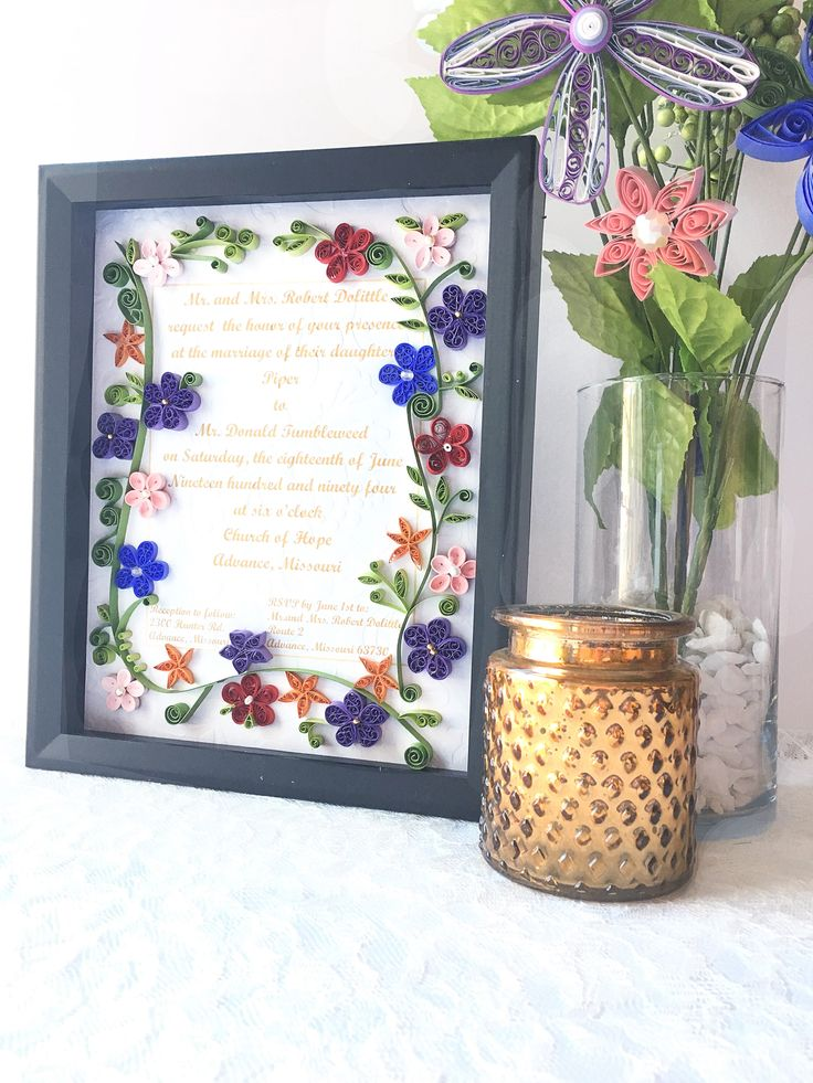 Excited to share the latest addition to my shop: Framed Wedding Invitation Shadowbox - Traditional Wedding Keepsake