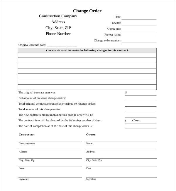 10 Sample Construction Change Order Forms Sample Forms