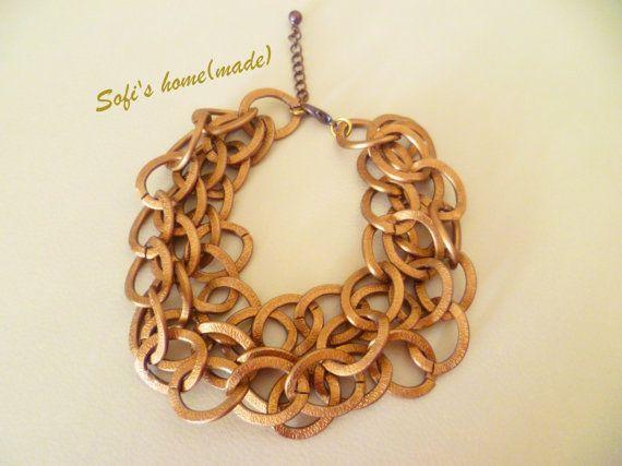 Handmade bronze chainmaille bracelet
