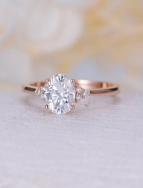 Anillo de compromiso Moissanite vintage anillo de compromiso ovalado de oro rosa anillo de racimo de diamantes joyería nupcial regalo de aniversario de joyería para mujeres   – Dream Wedding