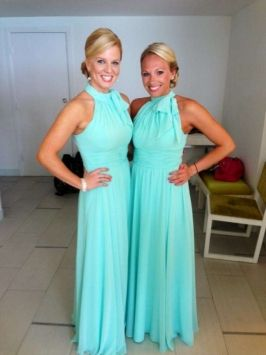 Tiffany Blue bridesmaid dresses. If you want the best officiant for your Outer Banks, NC, ceremony, contact Rev. Barbara Mulford: myobxofficiant.com/