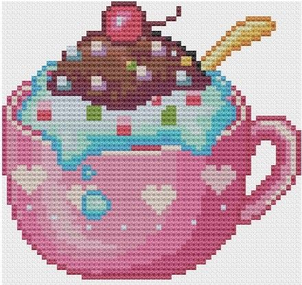 kawaii cross stitch | Kawaii Ice cream Sundae Cross stitch Pattern PDF