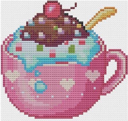 kawaii cross stitch | Kawaii Ice cream Sundae Cross stitch Pattern PDF