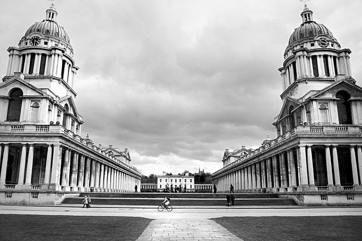 Old Royal Naval College - originally a hospital, Christopher Wren and Nicholas Hawksmoor designed the complex. In the centre is 'The Queen's House' and at the top of the hill - The Royal Observatory. With the NMM (National Maritime Museum), they make up the World Heritage Site of 'Maritime Greenwich'. Quite possibly the finest part of London, which is no idle boast. SE10, Cutty Sark DLR.
