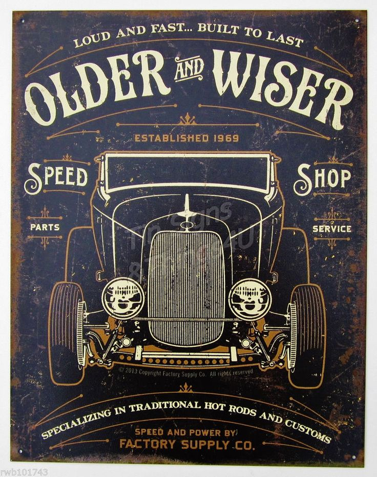 Older & Wiser Parts Service TIN SIGN vtg hotrod garage auto shop wall decor 1963