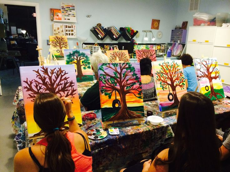 Really great night of canvas painting! #SipShopPaint #TreePainting #CanvasPainting #TheArtGarage