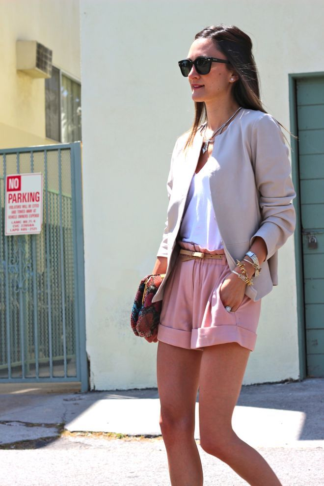 Pink Shorts, Summer Looks, Fashion Style, Summer Style, Soft Pink, Casual Elegant, Cute Outfit, Business Casual, Chic Fashion
