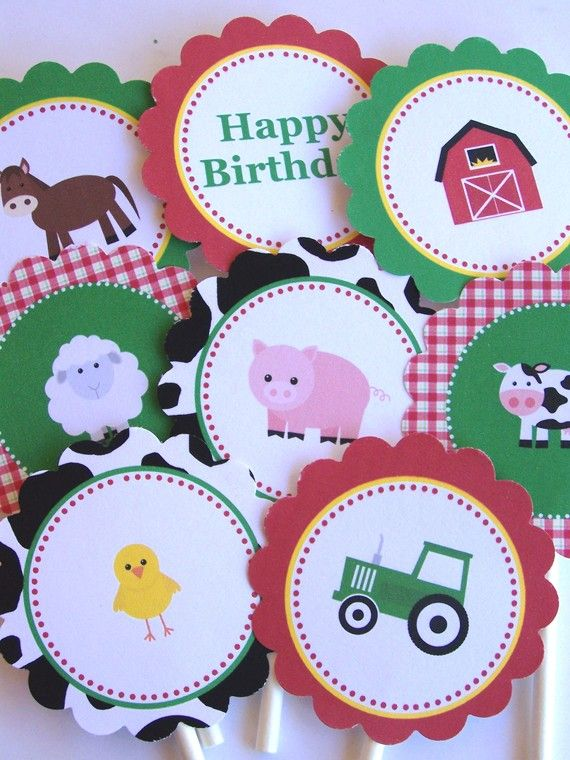 Farm Party Printables - Farm Friends Collection Printable Party Rounds by The Birthday House