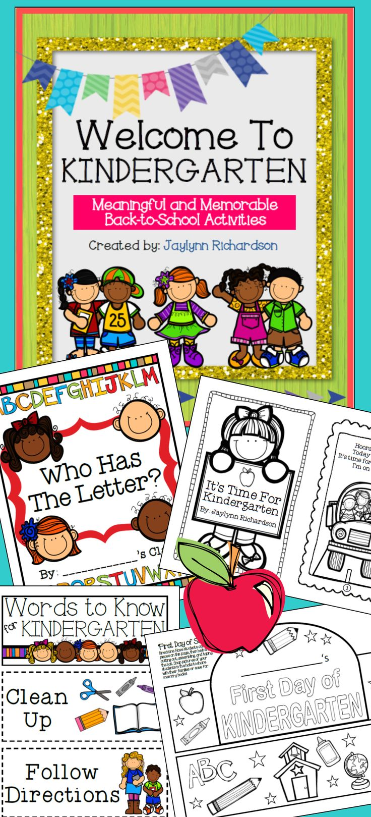 """Welcome Kindergarten students with these easy-to-use, fun, and memorable activities and materials! Due to the popularity of my """"Welcome to Pre-K"""" packet, I created this version adapted for Kindergarten classrooms. I hope you enjoy! :)"""
