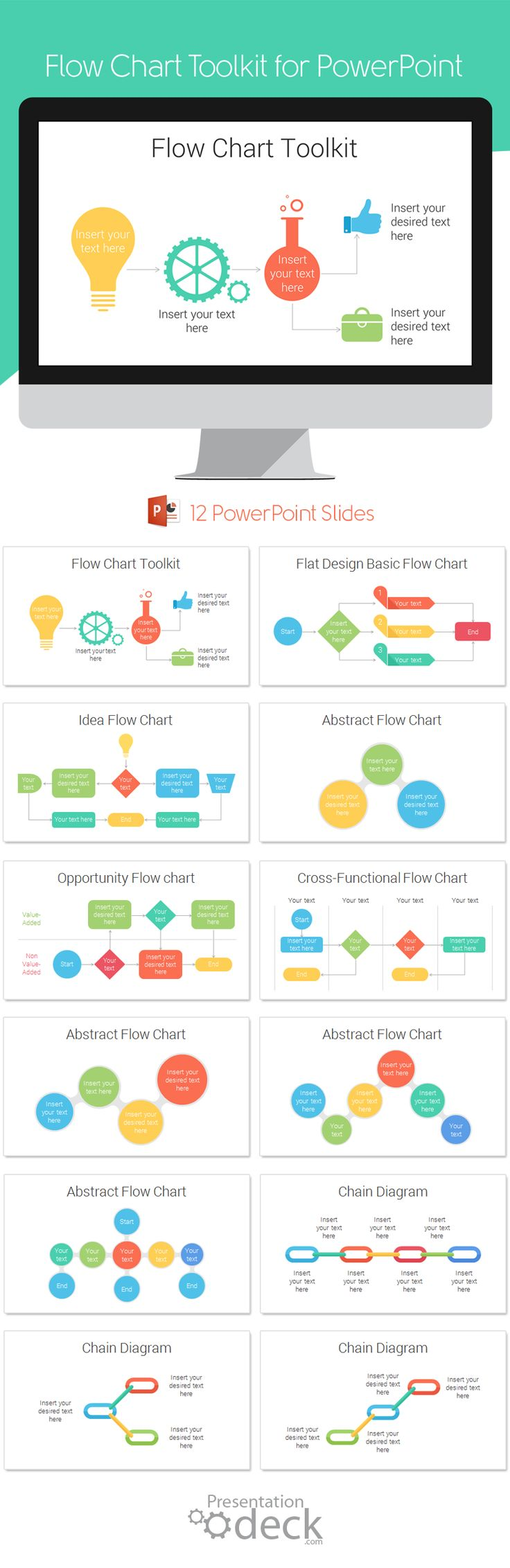 Flow Chart Toolkit PowerPoint template with 12 pre-designed slides with colorful…
