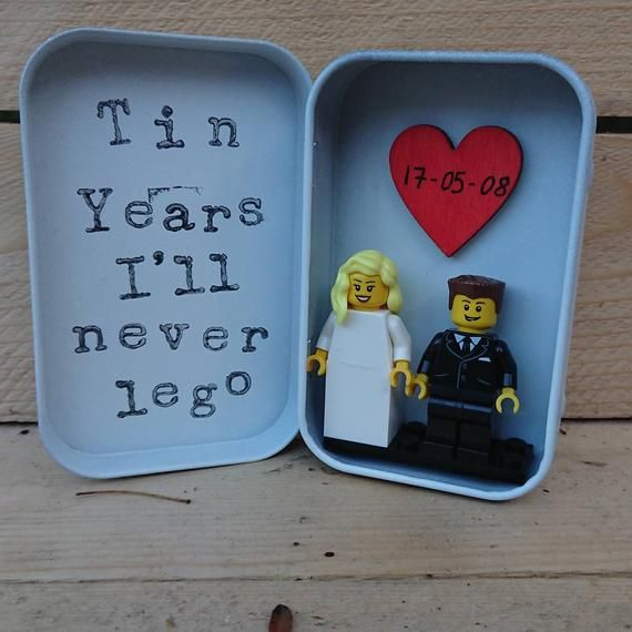 Tin Wedding Handmade Bride Groom Minifigures Gift Personalise Gee 10 Year Wedding Anniversary Gift Ten Year Anniversary Gift One Year Anniversary Gifts