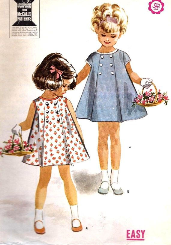 1960s Girls Dress Vintage Sewing Pattern By