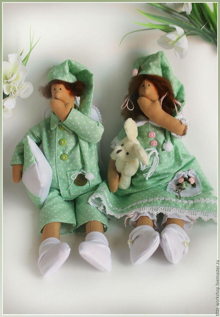 Купить Сплюшечки - салатовый, сплюшка, сладкий сон, тильда, тильда кукла, тильда сплюшка ♡