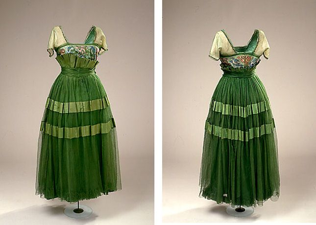 Harvey Nichols (Designed after Paul Poiret), c. 1914-1916. Green gown of duchess satin and tulle. The dress has a square neckline and kimono sleeves and is decorated with pearl embroidery.