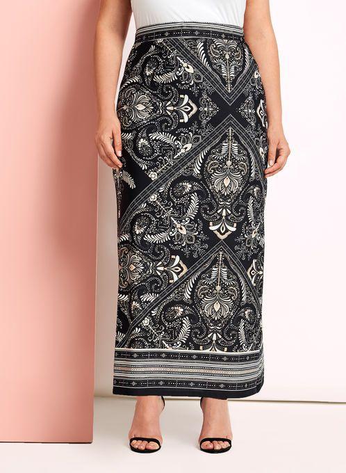 Paisley Print Jersey Maxi Skirt