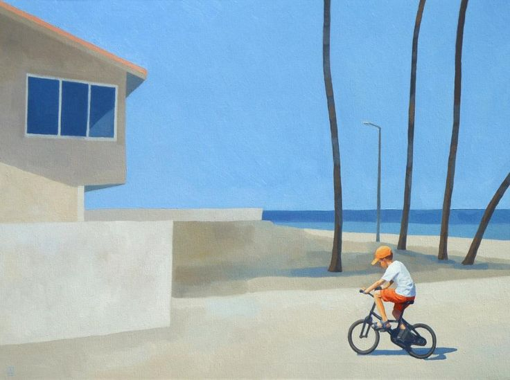 Bike Boy And Palm Trees by Andrzej Tuznik #art #artist #painting #drawing - Beauton Art Gallery - http://beautonart.com | http://beautonart.dk