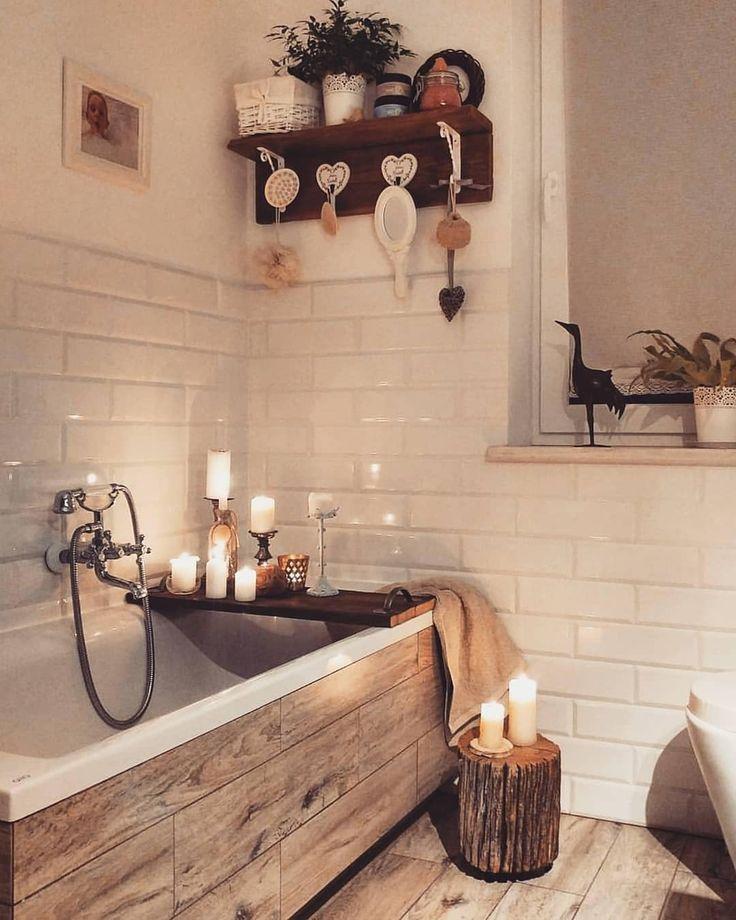 relaxation, bathroom, bathtub, wood, candles, log, decoration, faucet, faience white, parquet