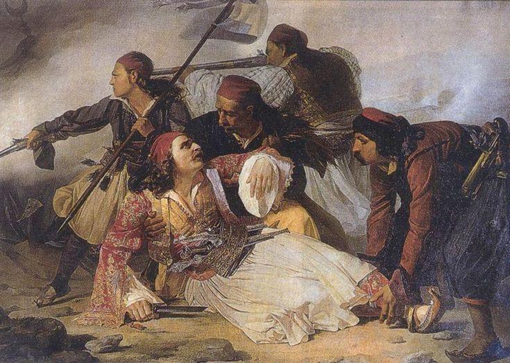 The death of Markos Botsaris. Painting by Ludovico Lipparini, Civico Museo Sartorio, Trieste, Italy.