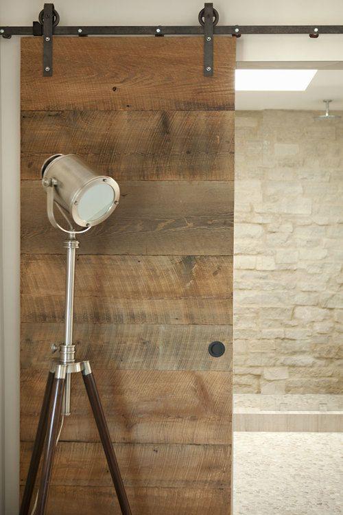 Reclaimed wood barn door for bathroom - see beach design. ©2011karyn-r-millet_MG_2289R.jpg