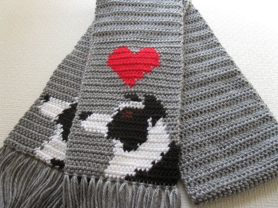 Knitting Pattern For Border Collie Dog : Border Collie Scarf. Grey crochet and knit scarf with border collie dogs and ...