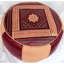 Leather Burgundy Berber Ottoman (Morocco) | Overstock.com Shopping - Top Rated Mediterranean Ottomans