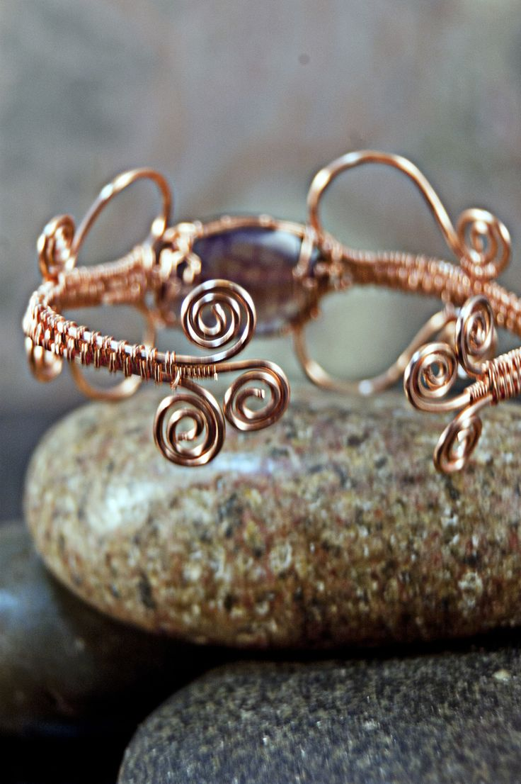 Dragon Vein Agate Wire Woven Copper Bracelet - Simply Unique Jewelry - 1