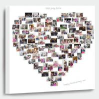 Share your feelings by choosing one of our heart shaped collages.  For a truly romantic collage canvas. We create a heart shape with your photos. Love isn't only about romance , Use the heart shaped collage canvas to print pictures of your family and other people you love. Posted any where in the UK