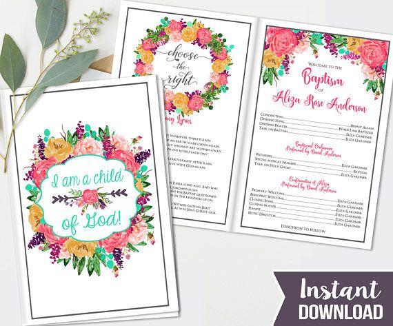Girls LDS Baptism Printable Program - Fully Editable - Printable Folded Baptism Program - Great to be 8 - Mormon Baptism Program colorful, Florals ----------------------- ♥••♥ I N S T A N T D O W N L O A D♥••♥ ----------------------- ♥ COORDINATES! ♥ See the matching Invitations here! *Instant Download: https://www.etsy.com/listing/482297016/girls-lds-baptism-invitation-photo?ga_search_query=baptism&ref=shop_items_search_14 *Add 1-4 photos to your in...