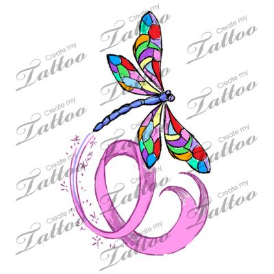 Simple, feminine design with dragonfly & breast cancer ribbon | Another proposal for your tattoo design #87647 | CreateMyTattoo.com