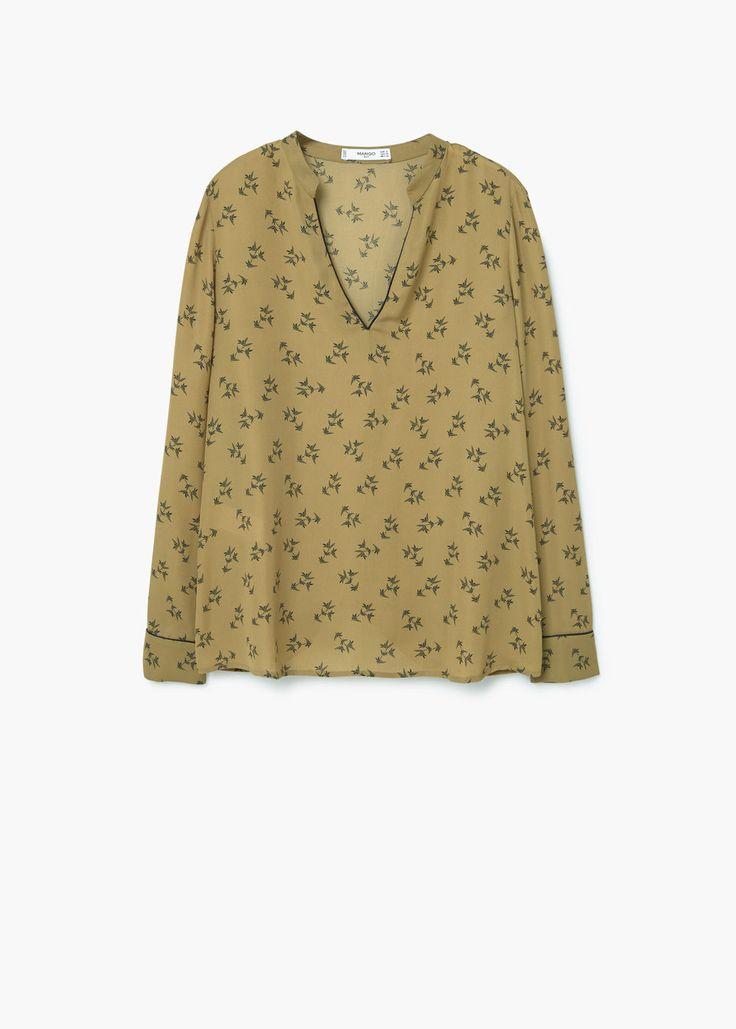 Струящаяся блузка с принтом   MANGO МАНГО
