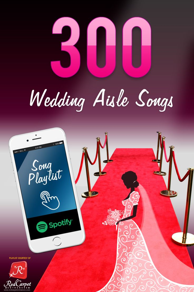 """Wedding Aisle Songs - Here Comes The Bride! 300+ processional songs in a FREE Spotify playlist! Re-pin and save your friends & family tons of time with wedding planning!   All popular songs plus unique alternatives to """"Here Comes the Bride."""" The ultimate wedding aisle music!  Walk the aisle in style! All music genres, all wedding themes, something for everyone!   Happily Ever After! The End."""