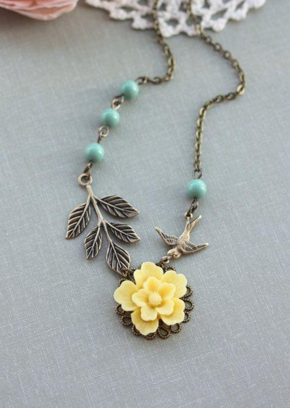 A Yellow Sakura Flower Flying Swallow Bird Leaf Branch by Marolsha
