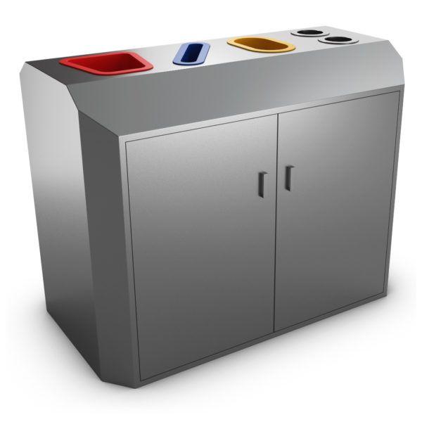 Stockholm Poubelle Pour Tri Selectif Inox 4 Compartiments Locker