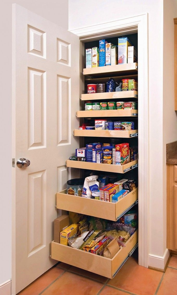 Beautiful And Space Saving Kitchen Pantry Ideas To Improve Your Kitchen : Free Standing Kitchen Pantry With Pull Out Drawers And White Shelf And White Drawers Also Wooden Floor